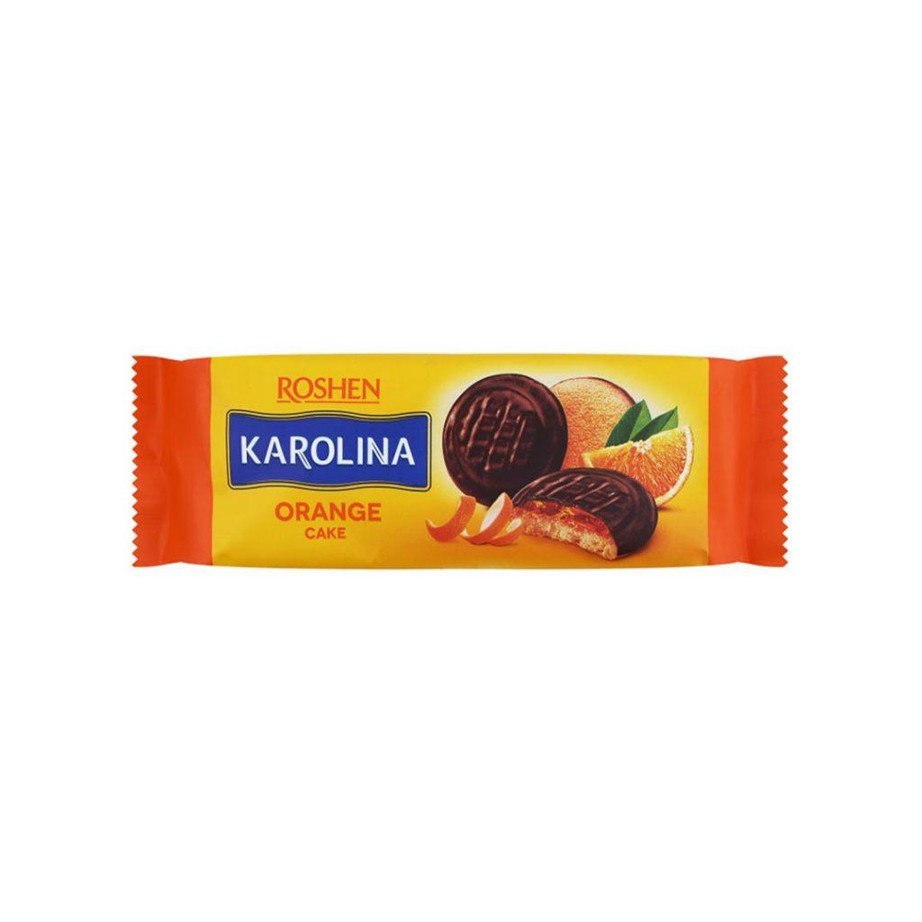 بیسکوییت ژله پرتقال با روکش شکلات روشن کارولینا ۱۳۵ گرم Roshen Karolina